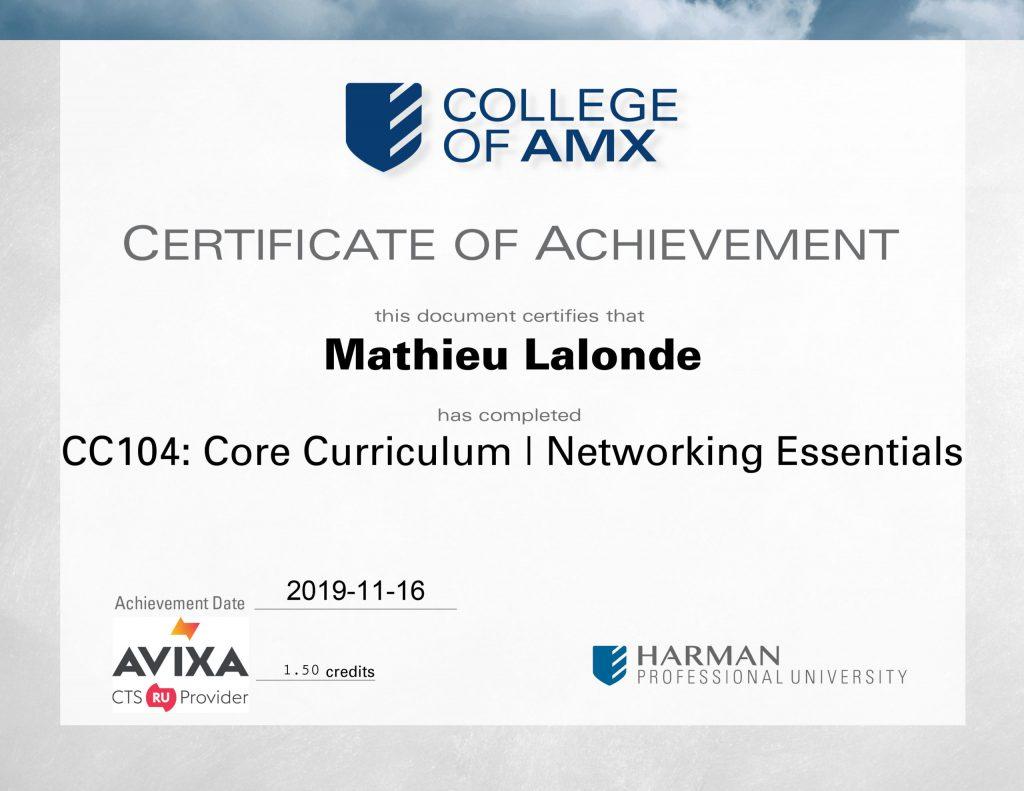 CC104 Core Curriculum Networking Essentials