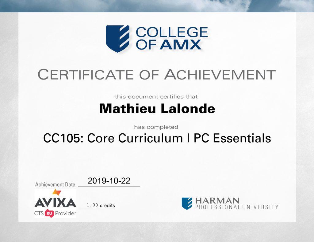 CC105 Core Curriculum  PC Essentials