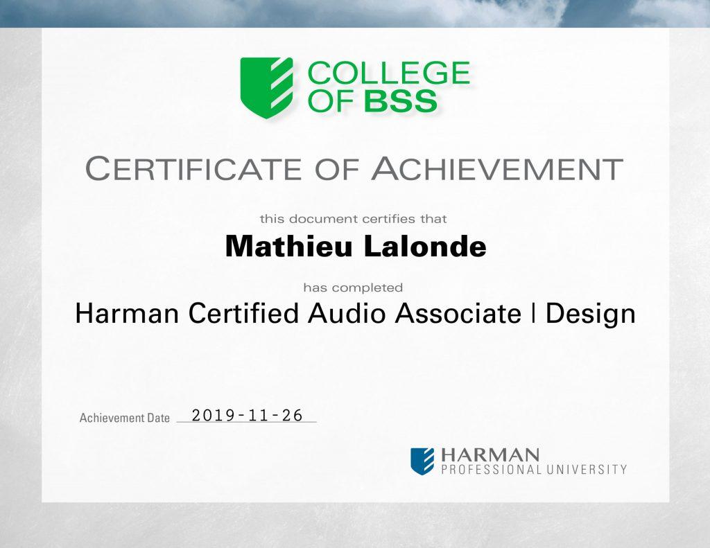 Harman Certified Audio Associate Design